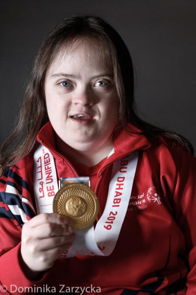 Jannette Sharpe, Great Britain Special Olympics rhythmic gymnastics athlete from Milton Keynes, Southern region, Special Olympics games in Abu Dhabi, United Arab Emirates on March 21, 2019.