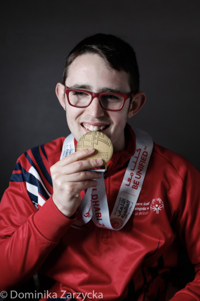 Aaron Bonnar, Great Britain Special Olympics artistic gymnastics athlete from Jersey, Jersey region, Special Olympics games in Abu Dhabi, United Arab Emirates on March 21, 2019.